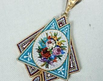 Micro Mosaic Antique Victorian Floral Bouquet Pendant, Italian Grand Tour Souvenir Jewelry