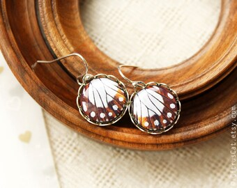 Butterfly wings earrings - Brown small earrings