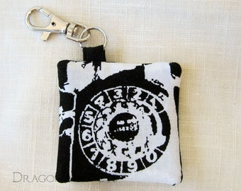 Retro Telephone Earbud Holder, Guitar Pick Case, Cleaning Cloth Pouch - Black and White Hidden Pocket Keychain, Old School Rotary Phone
