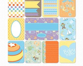 Growing Pains Baby Boy Digital & PrIntable Pocket Scrapbook Cards Set 2