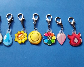 Pokemon Kanto League Gym Badge Keychains