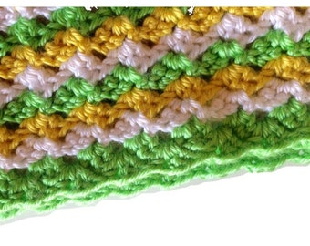 Crocheted Gender Neutral Baby Blanket- yellow, green, white blanket for stroller, car seat,travel blanket