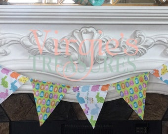 Spring and Easter Fabric Banner, Spring Pennat Banner, Easter Pennant Banner, colorful Bunting