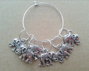 WoollyKits Elephant Stitch Markers (Pack of 6 Charms) for Knitting/Crochet