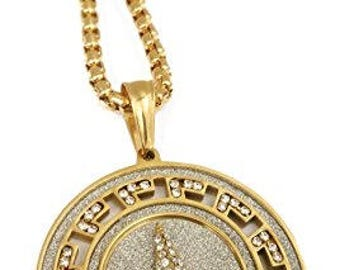"Iced Out Peace Symbol Medallion Pendant Stainless Steel Necklace with 30"" Chain (Gold)"