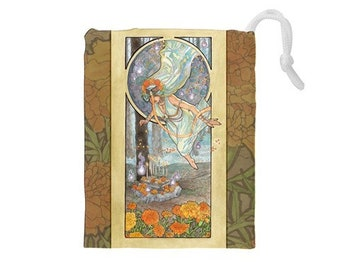 Drawstring Bag Lady of October Art Nouveau Birthstone Series Samhain Goddess with Marigold Altar Mucha Style Tarot Deck Cosmetic Makeup Bag