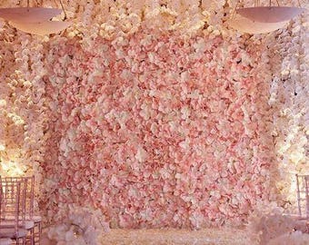 Flower wall etsy 4 blush ivory flower wall pink panels hydrangeas artificial flower wedding decorations fake flower greenery flower square pink wholesale mightylinksfo