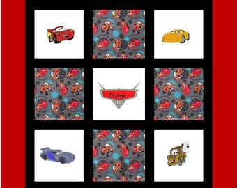 Custom Embroidered Cars Baby or Toddler Quilt - choose the fabrics - Matching Crib Bedding Available - choose the characters from 1, 2 or 3