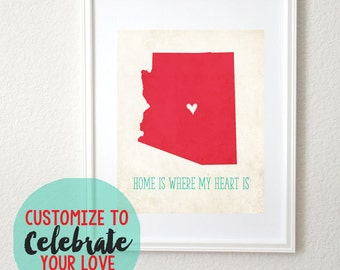 Rustic Home is Where My Heart is Personalized Map State or Country 8x10 Art Print. Keepsake Map. Wedding Gift. Couples Gift.