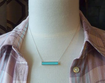 Color Collection. Turquoise and Silver Bar Necklace. modern necklace. delicate necklace. layering necklace. simple necklace.