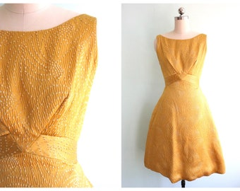 Vintage 1950's Gold Tinsel Party Dress | Size Extra Small