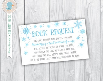 bring a book instead of a card / bring a book baby shower insert / book request / blue winter book request / INSTANT DOWNLOAD