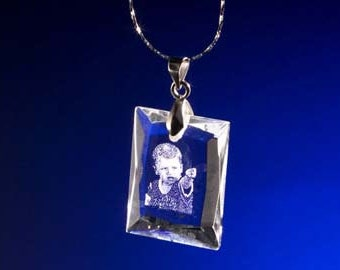 """Laser  Photo Crystal Etching Pendant with Silver Chain, with Custom Picture in Galss **FREE SHIPPING**Laser Etching Crystal by"""" Good Count """""""
