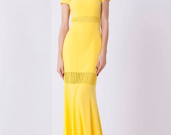 Yellow evening dress, special occasion dress, Evening silhouette dress, Formal Evening Gown, Cap Sleeve Dress with Illusion Cutouts
