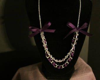 Purple Ribbon and Rhinestone Necklace