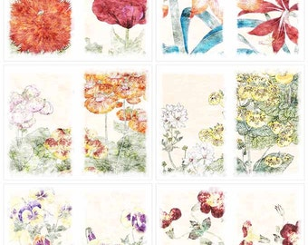 Distressed Japanese Flowers Digital Just-a-Dori Fauxdori  Printable Planner Papers Instant Download Set of 6 - 11 x 8.5 inch JPEG & PDF 2146