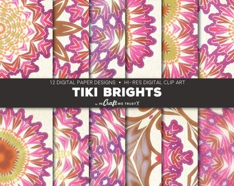 """Tiki Brights Digital Papers • 12 Hi-Res Print Designs • 12"""" x 12"""" Backgrounds• Commercial & Personal Use • Instant Art Downloads"""