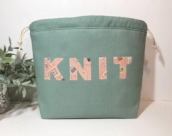 Medium Wide Knitting Crochet Project Bag in Mint