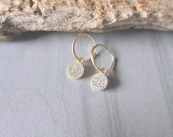 Small Gold Hoop Earrings,Tiny Gold Hoops,Gold Hoops with Charm Earrings,Gold Hoop Earrings,Hoop Earrings Gold,Everyday Hoops,Sparkly Hoops
