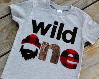 Wild One Lumberjack First Birthday Shirt, First Birthday Shirt, Lumberjack Birthday, Buffalo Check Shirt, One Shirt, Wilderness Man, Logger