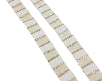 Ivory gold white fold over elastic, Printed FOE, 5/8 elastic, Headband elastic,  Elastic by the yard