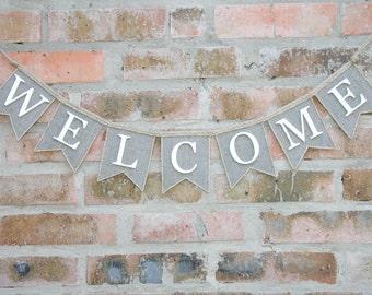 Welcome Banner, Welcome Burlap Banner, Welcome Burlap Garland - Bunting Banner - Home Decor, burlap banner, Welcome Sign, Welcome Garland