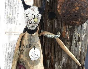 OOAK Klopp Kids  Extreme Primitive Alice In Wonderland Gothic Folk Art Doll Softie Macabre Nightmare Creepy Cute Bunny Rabbit