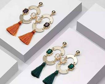Cute unique large loop tassel earrings