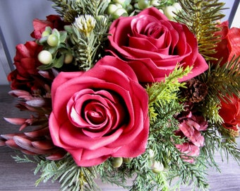 Alpine Fir and Antique Reds Faux Floral Arrangement - Faux Flowers - Hostess Gift - Birthday Gift - Centerpiece