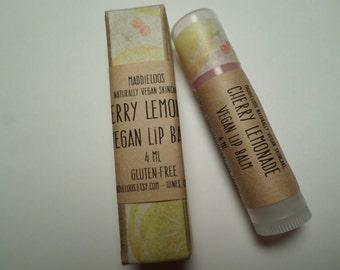 Vegan-Cherry Lemonade Organic Vegan Lip Balm- lightly tinted and sparkly-Gluten Free-4ml