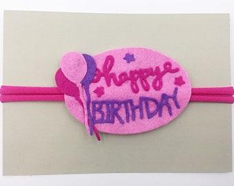 Happy Birthday Pink and Purple Headband