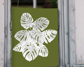 Tropical Print Monstera Plant 1 white on green - tropical decor Tropical island art wall art palm print beach house decor beach home cottage