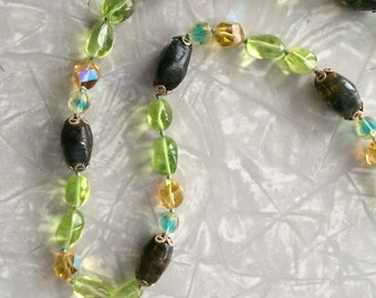 Vintage 50's Crystal Lucite Beaded Necklace - Green / Gold / Blue / Brown