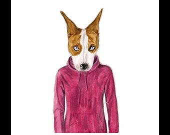 Dog Wearing Hoodie 8 x 10 inch  Watercolor Art Print