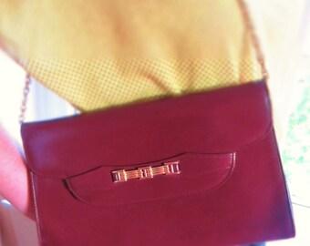 SALE // Vintage Burgundy Clutch Bag w/ Gold Chain & Buckle Trim