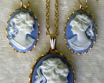 Beautiful Vintage Style Sky Blue and White in Gold Cameo Jewelry Set for Weddings or Gifts ...  Great Gift
