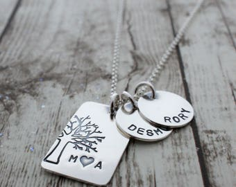 Personalized Jewelry in Sterling Silver - Under the Oak Tree Plus Two - Family Tree with Names and Initials - Mother's Jewelry Gifts