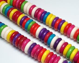 20pcs Bohemian Disc Beads - Howlite Stone (Grade D) - Colourful Donut Beads - Boho Beads - Hippie Beads - 12mm Beads - B18152
