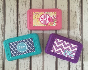 Personalized Pencil Box/ Custom Supply Boxes for Girls Back to School Lilly Pulitzer, Chevron