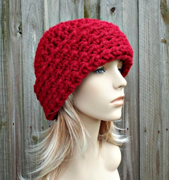 Cranberry Red Womens Hat Red Mens Hat - Wide Cuff Beanie Hat Crochet Hat - Red Hat Red Beanie Womens Accessories Winter Hat - READY TO SHIP