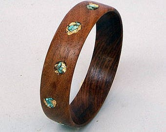 Wood Bracelet-Bangle with Turquoise and Gold Leaf (1)