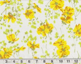 "Yellow wildflower quilt fabric white background 1yd 13"" x 46"""