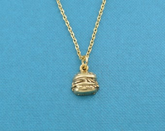 "Hamburger necklace on 16"" gold stainless steel chain.  Fast food jewelry.  Fast Food Gifts.  Hamburger necklace.  Hamburger charm."