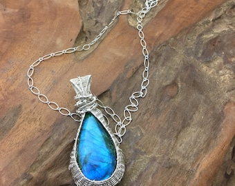 Stunning Blue Flash on this Labradorite and Sterling Necklace  - Handmade in the USA