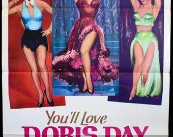"Love Me or Leave Me ~ TRI-FOLDED GEM! Original 1964 Re-Release U.S. 1 Sheet! 27""x41"" in Very Fine Condition! Doris Day and James Cagney!"