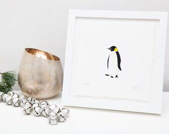 Penguin papercut art // christmas gift - personalized gift - handmade - penguin picture - winter bird - snow - monochrome - nursery wall art