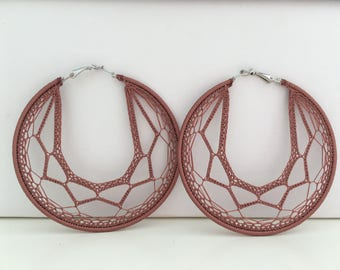 "Crochet hoops  3 "" in Light Brown"