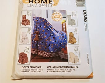 McCall's Home Decorating 8036  Seven Assorted Chair Cover Patterns Uncut Factory Folded  Home Decor Slipcover Pattern