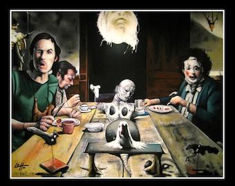 "Print 11x14"" - The Dinner Scene - Texas Chainsaw Massacre Leatherface Grandpa Sawyer Dark Art Horror Serial Killer Gothic Taxidermy Lowbrow"