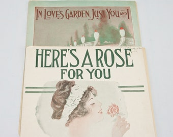 Vintage Sheet Music, 1916 Sheet Music, Romantic  Art Nouveau Sheet Music